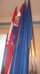 Flags hoisted at the Symposium, left to right: Republic of Croatia, HGZD, University of Zadar, European Union