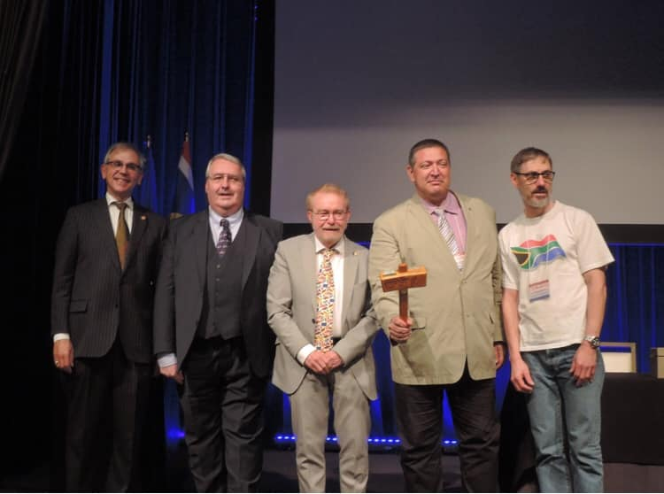 @FIAV.org (17 July 2019): For the first time in twenty years, today the FIAV Board changed. (left to right, Charles Spain, outgoing Secretary-General; Graham Bartram, continuing Secretary-General for Congresses; Michel Lupant, outgoing President; Željko Heimer, incoming President; and Bruce Berry, outgoing Secretary-General)