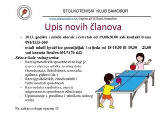 Poziv škola za učenje igranja stolnog tenisa – upisi